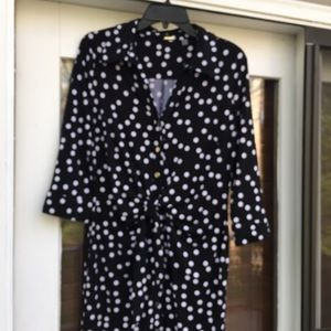❤️NWT TAHARI Black/White Polka Dot Snaps Dress